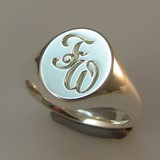 script initials engraved on signet ring